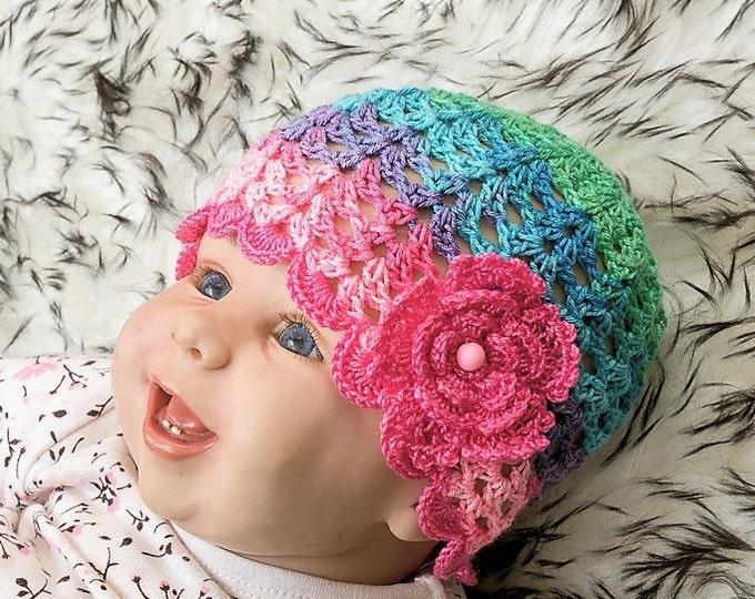 Ready to ship - Baby girl summer hat - Baby girl hat - Baby sun hat - Flower hat - Crochet baby hat - Baby summer beanie - Colorful baby hat
