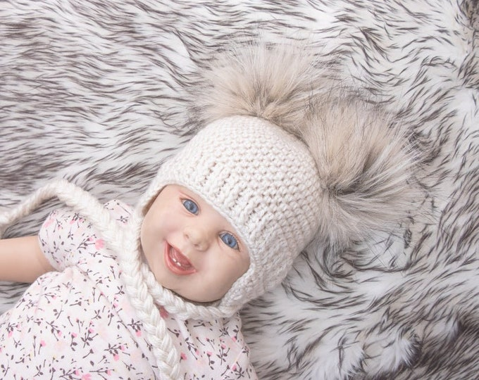 Beige Double pom hat, Newborn hat, Baby hat, Boy or girl, Crochet baby hat, Faux Fur pom pom, Baby earflap hat, Toddler hat, gender neutral