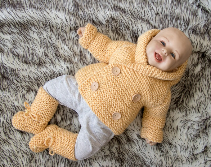 0-3 months Hand knitted Hooded Baby sweater and booties, Hand Knit Baby boy outfit, Breasted baby Jacket, Baby boy Sweater, Ready to Ship