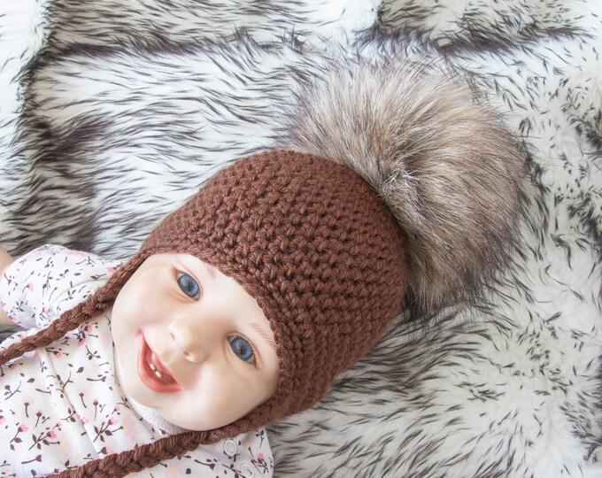 Brown fur Pom pom earflap hat, Baby hat, Crochet baby hat, Newborn hat, Winter hat, Gender neutral Infant hat, Baby shower gift, Toddler hat