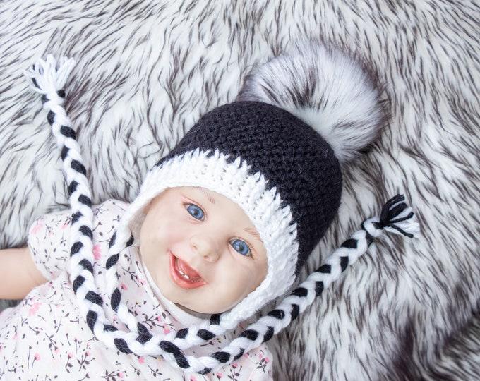 Black and white hat, Kids Hat, Boy hat, Black hat, Pom pom hat, Crochet Hat, Earflap hat, Newborn hat, Gender neutral baby hat, Toddler hat