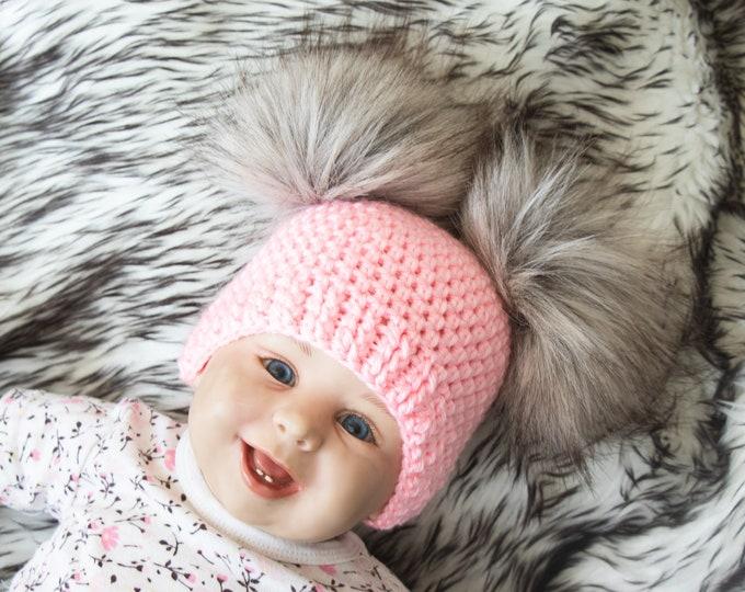 Pink Baby girl fur double pom pom beanie, Pom pom hat, Newborn girl hat, Baby girl Winter hat, Baby Hat, Newborn girl beanie, Preemie beanie