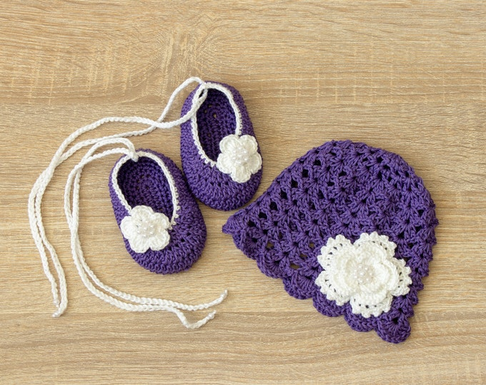 Violet baby hat and shoes set- Baby girl Flower hat shoes - Crochet summer Hat - Crochet shoes - Newborn Girl clothes - Baby girl gift