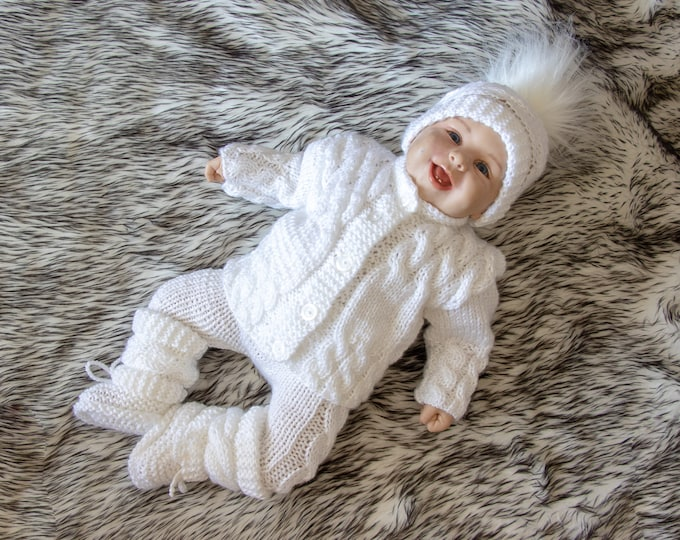 Ready to ship, size 0-3 m, White Baby coming home outfit, Newborn take home outfit, Hand Knitted outfit, Gender neutral coming home outfit