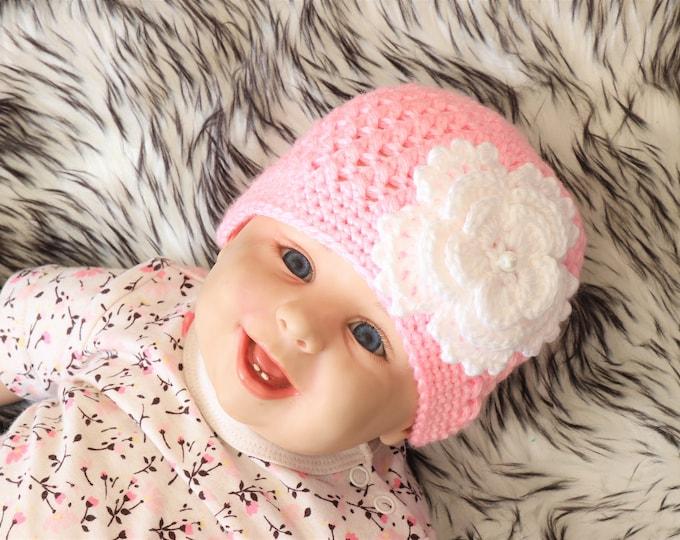 Pink Baby girl flower hat - Newborn girl hat - Baby girl hat- Flower beanie- Baby girl gif - Baby girl clothes - Crochet hat- Crochet beanie