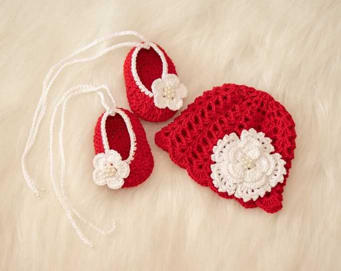 0-3 m Red baby girl hat and shoes set, Crochet summer Hat and shoes, Newborn Girl set, Baby Flower hat and shoes, Baby gift, Ready to ship