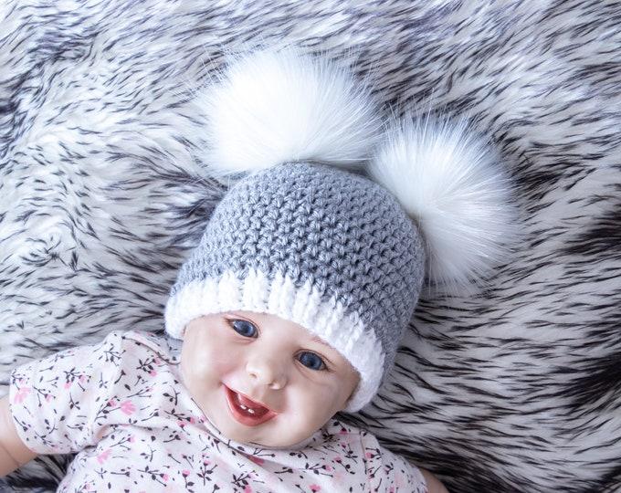 Gray double pom beanie, Fur pom beanie, Preemie boy hat, Neutral baby hat, Winter hat, Toddler beanie, Kids hat, Baby beanie, Newborn hat