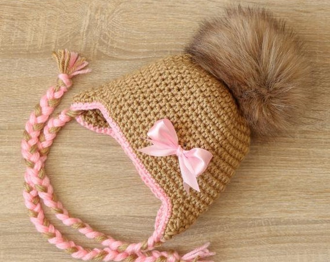 Baby girl hat - Pom pom hat - Pom pom hat - Crochet baby girl hat - Newborn girl Earflap hat - Baby girl gift - Baby girl clothes