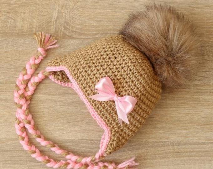 Baby girl hat - Pom pom hat - Pom pom hat - Crochet baby girl hat 047f50d32740