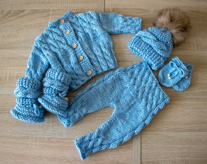 Baby boy coming home outfit - Blue outfit - Knitted baby clothes - Newborn take home outfit -  Knitted baby outfit - Cable knit baby clothes