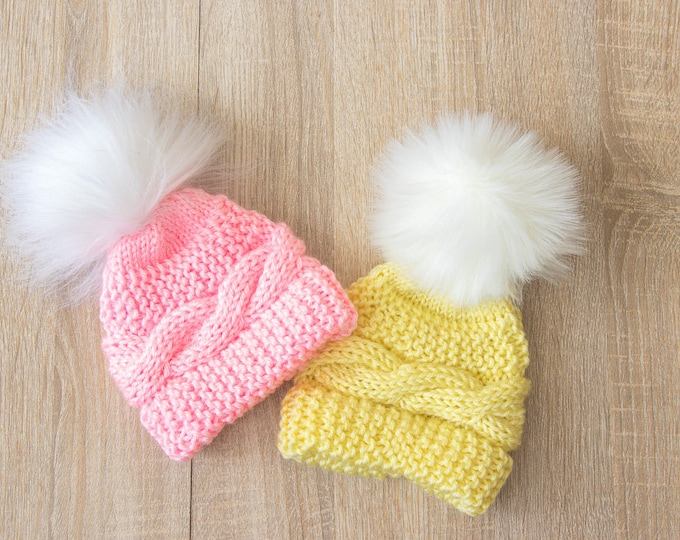 Twins Baby pom pom Hats - Twin Coming Home Hats - Yellow and pink - Newborn Twin hats - Knitted Hats - Twin Baby Gifts - Cable knit hats