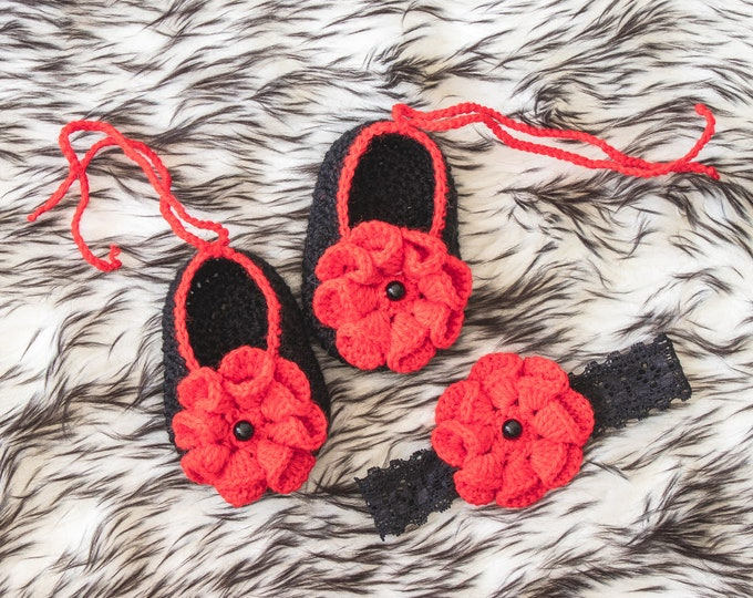 0-3m Baby girl shoes and headband, Black and Red, Ballerina Slippers, Baby headband, Baby gift, Baby girl set, Baby girl gift, Ready to ship