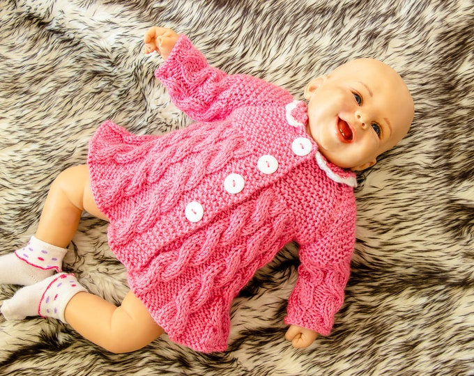 Ready to ship - Raspberry pink hand knit baby girl sweater - Baby girl cardigan - Hand Knitted sweater- Knitted baby clothes- Baby girl coat