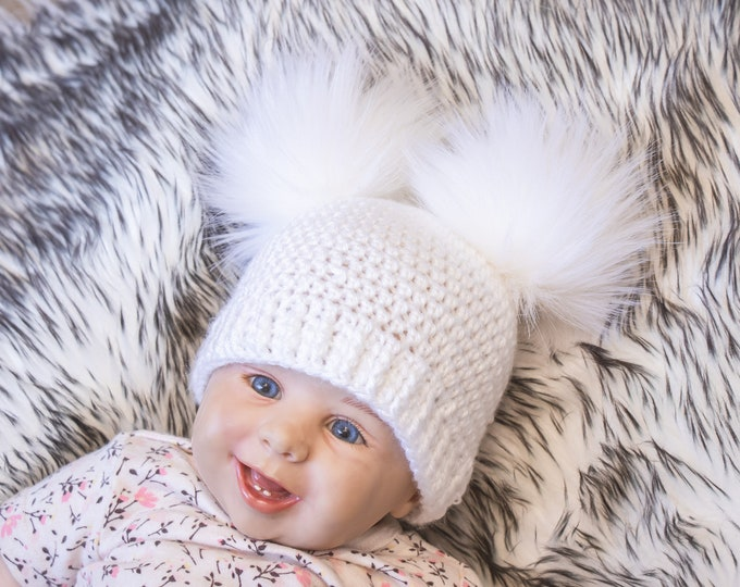 White Faux Fur Double Pom Beanie, Fur Pom pom hat, Bobble hat, Winter hat, Baby Hat, Teens hat, Unisex Adult beanie, Toddler Winter beanie