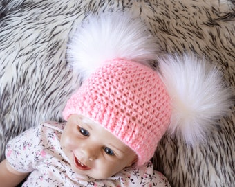 PINK Personalised Double Faux Raccoon Fur Pom Pom Knitted Winter Baby Hat