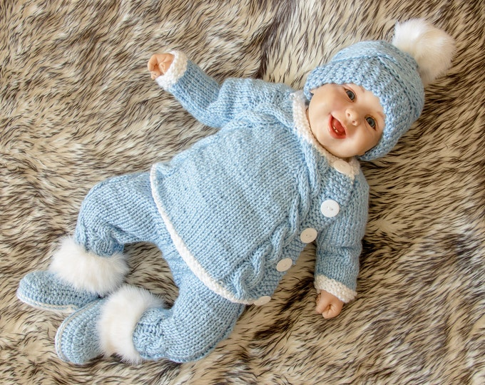 Baby boy coming home outfit, Knitted Baby Outfit, Baby boy layette set, Baby Hand knit clothes, Baby take home outfit, Blue baby outfit