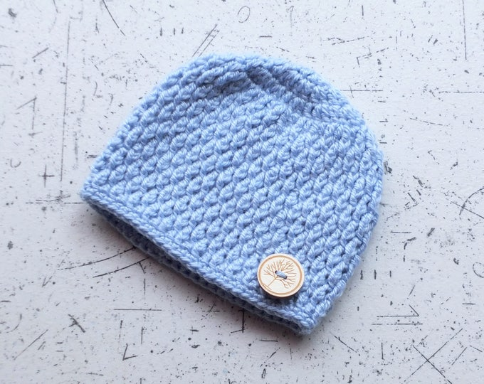 Baby boy hat - Newborn hat - Baby Boy beanie - Crochet baby hat - Baby Button Hat - Blue Hat - Button Hat - Crochet beanie
