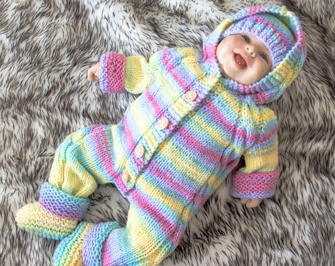 3-6 months Rainbow home coming outfit, Hand Knitted Jumpsuit, Baby Overall, hat and booties, Hooded overall, Baby knitwear, Ready to ship