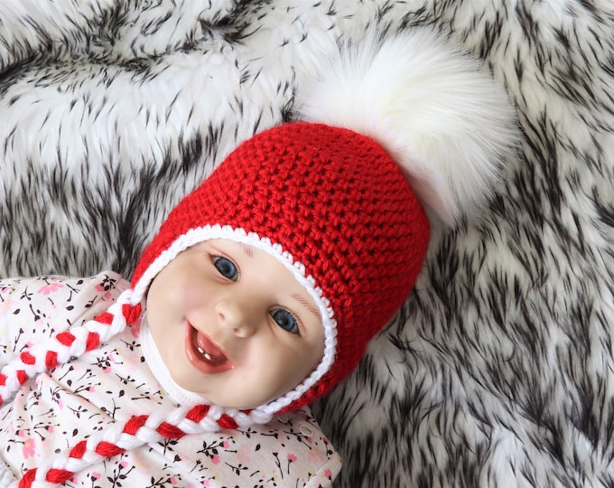 Christmas hat - Crochet baby hat - Earflap hat - Fur pom pom hat - Winter hat - Baby Hat - Kids hat- Newborn hat- Red and white- Preemie hat