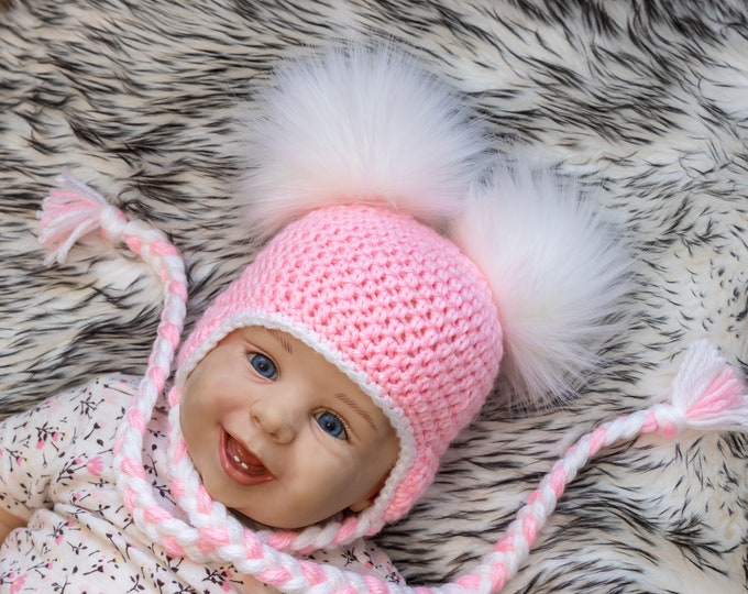 Pink Double pom pom hat, Preemie girl hat, Newborn girl hat, Baby girl pom hat, Earflap hat, Crochet Baby girl Winter hat, Toddler girl hat