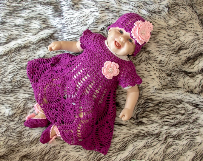 Ready to ship, Crochet Baby girl Dress Set, Baby girl summer clothes, Dress, Shoes and flower hat, Baby girl summer outfit, Baby girl gift