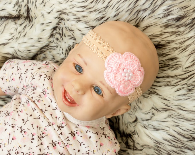 Flower Headband - Baby Girl flower Headband -Crochet Flower headband - Baby girl gift- Newborn Headband - Baby shower gift - Infant headband