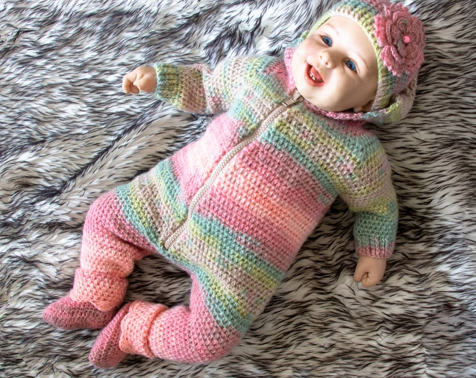 Crochet Baby Overall and booties set -  Baby Romper - Baby jumpsuit set - Hooded jumpsuit - Baby girl outfit - Baby coverall - Ready to ship
