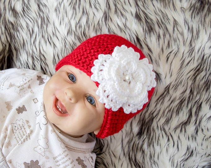 Baby girl Flower hat - Red and white hat - Crochet hat - Newborn girl Hat - Baby Girl Beanie - Baby girl Photo Prop- Red hat - Flower beanie