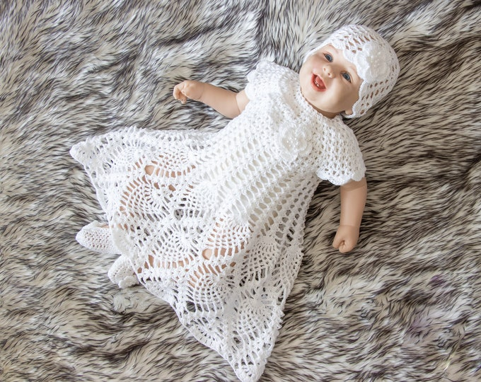 0-3 m Baby girl baptism outfit, Baby girl christening outfit, Crochet Baby dress Set, Baby girl summer outfit, Baby girl gift, Ready to ship