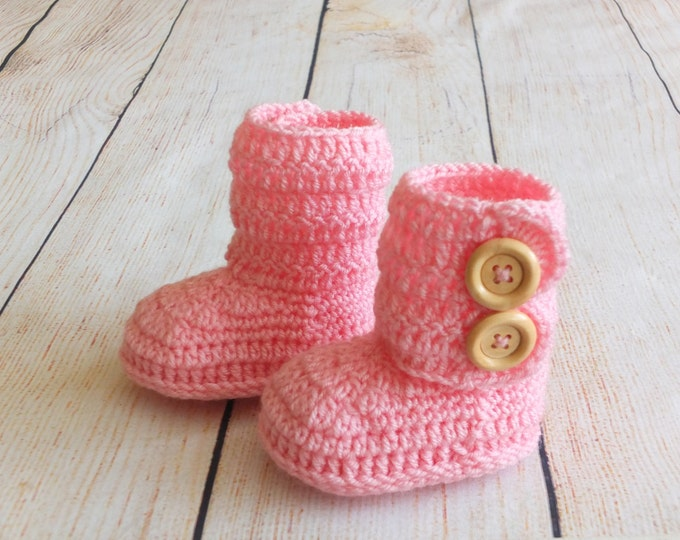Pink Baby girl booties - Infant shoes - Pink booties - Crochet baby booties - Baby ankle boots - Baby girl boots