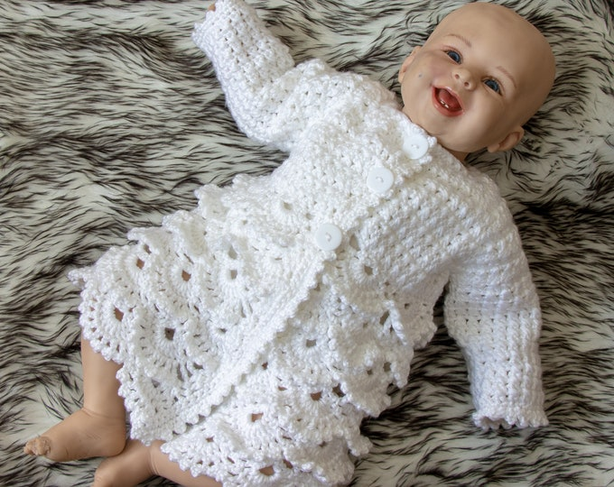 White baby girl coat - Crochet lace baby cardigan - Baby girl jacket - Matinee coat - Christening cardigan - Crochet Baby girl Clothes