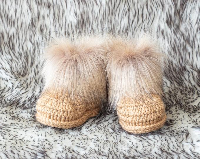 Fur Winter Booties, Neutral Fur booties, Baby booties, Gold booties, Baby Ugg Boots, Infant shoes, Newborn booties, Baby gift, Baby Boy Gift