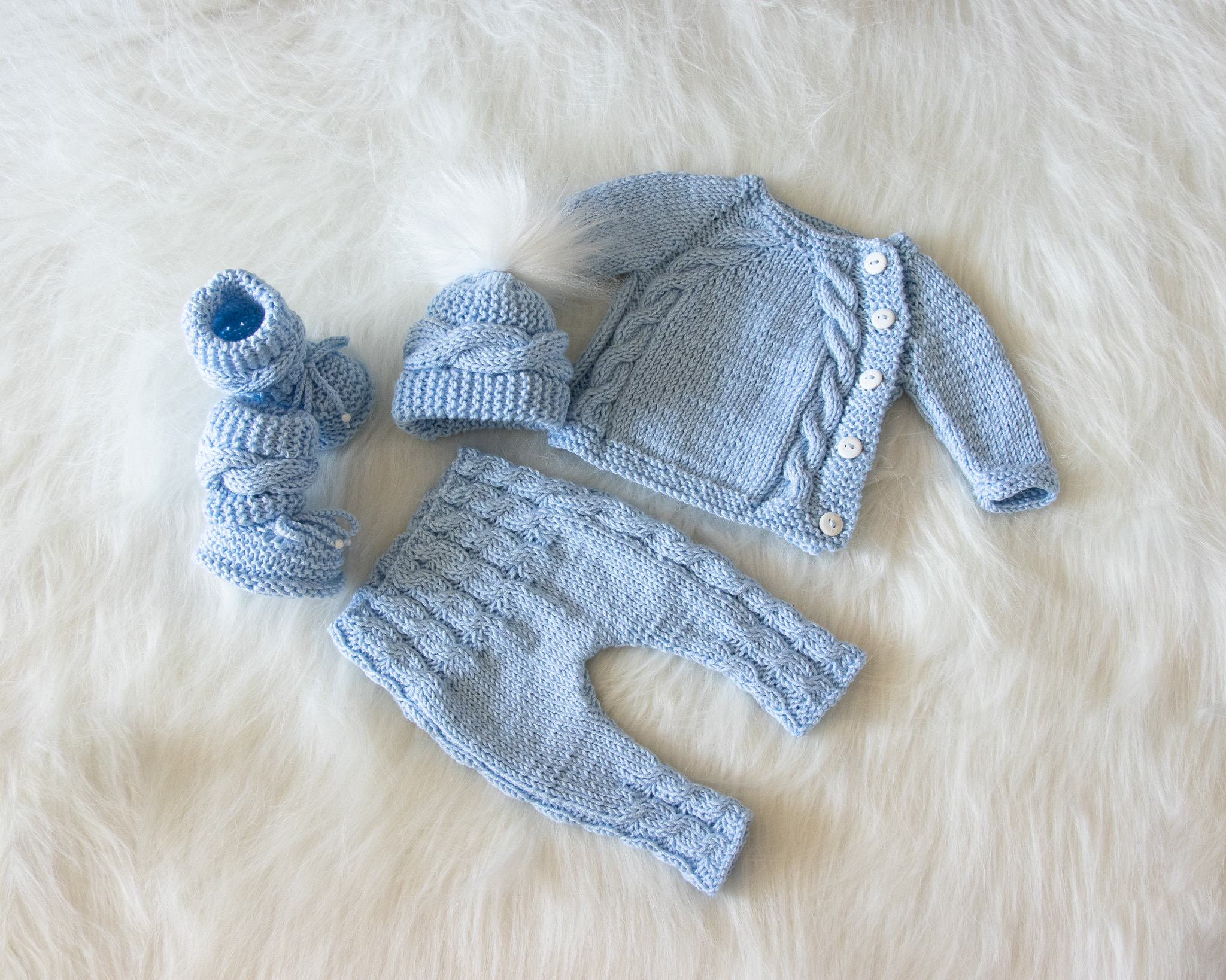 b81b698dabb07 Newborn boy coming home outfit, Baby blue outfit, Hand Knit Newborn ...