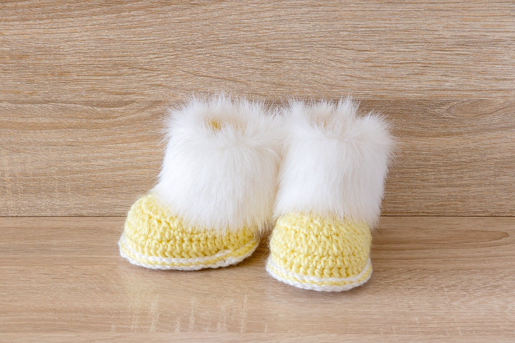 Yellow And White Baby Booties Preemie Clothes Fur Baby Boots