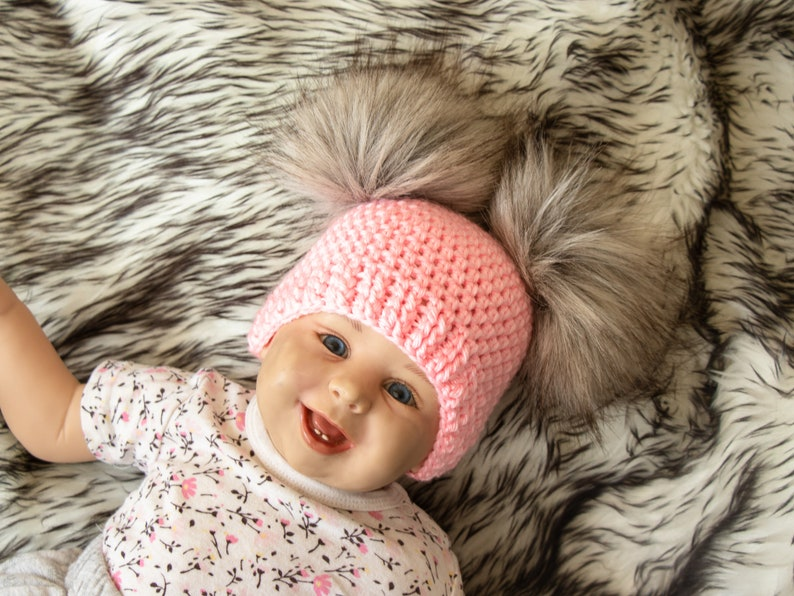 Baby girl double pom pom beanie Fur pom pom beanie  c1bf8782b76