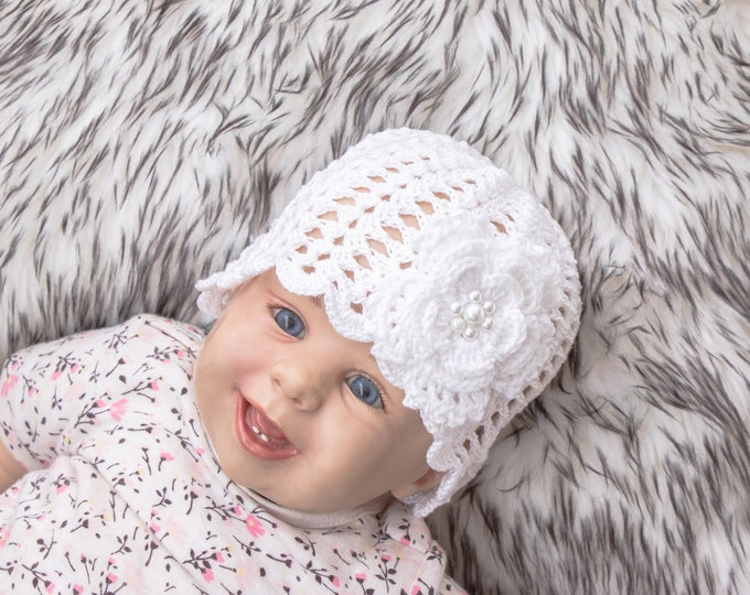 White flower hat, Summer beanie, Crochet hat, Crochet beanie, Baby Summer beanie, Toddler girl hat, Baby girl hat, Womens Hat, Baby sun hat