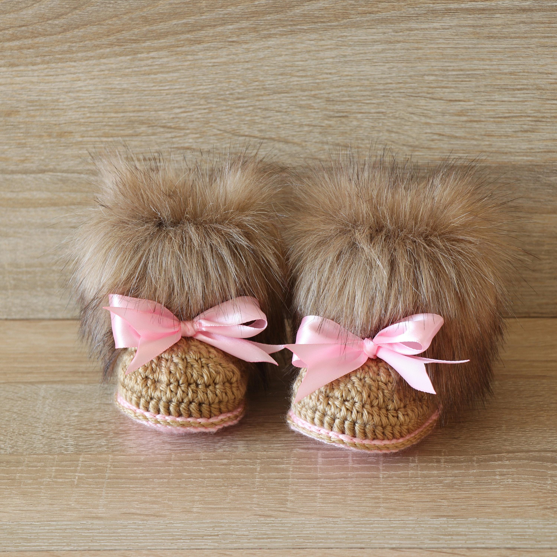 f0073966cbf5e Baby girl Faux fur Booties - Crochet booties - Newborn winter Boots ...