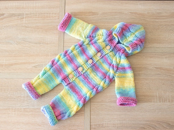 f3ae155ba2a4 Ready to ship Rainbow baby jumpsuit Hooded jumpsuit Hand