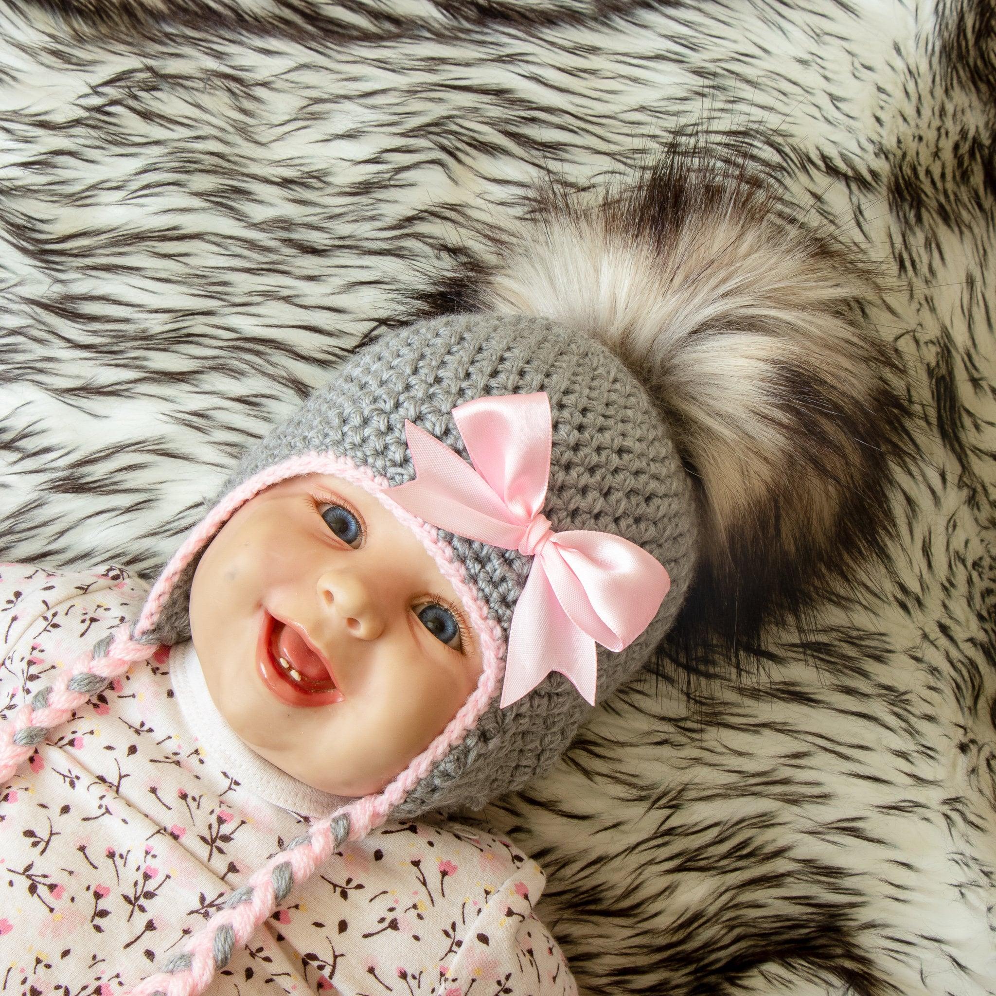 d65f547c5c8 Gray and pink Baby girl hat - Pom pom hat - Flower hat - Crochet baby ...
