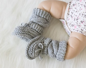 Gray baby booties, Unisex Baby Booties, Knitted booties, Baby boy booties, Baby Hand Knitted Booties, Cable knit baby boots, Infant booties