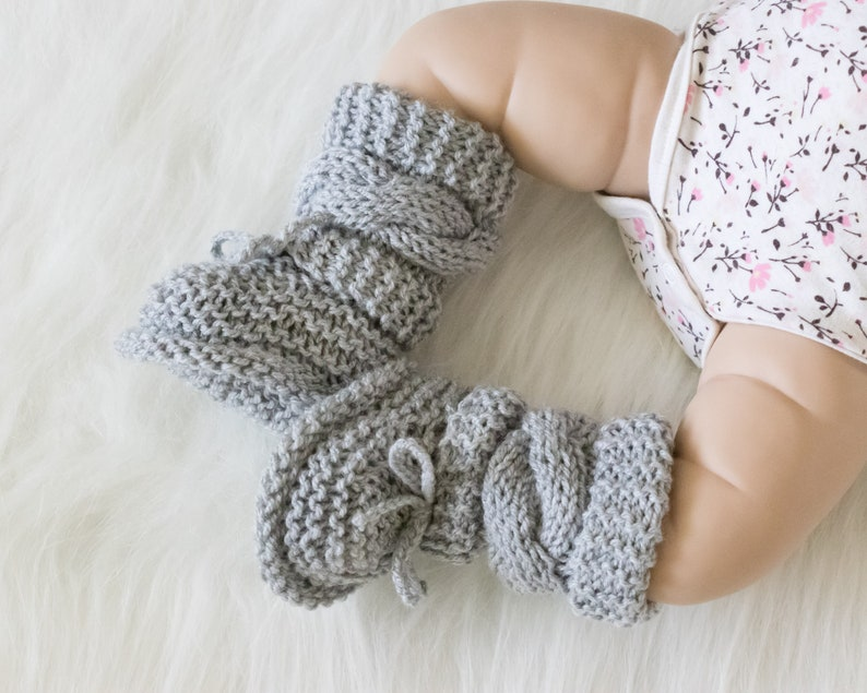 Gray baby booties Unisex Baby Booties Knitted booties Baby image 0