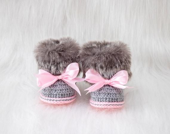 Faux Fur crochet baby girl Booties