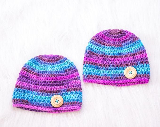 0-3 Months Matching twin hats, Crochet Newborn Boy Hats, Matching baby hats, Twin Baby Beanies, Handmade baby beanies, Ready to ship
