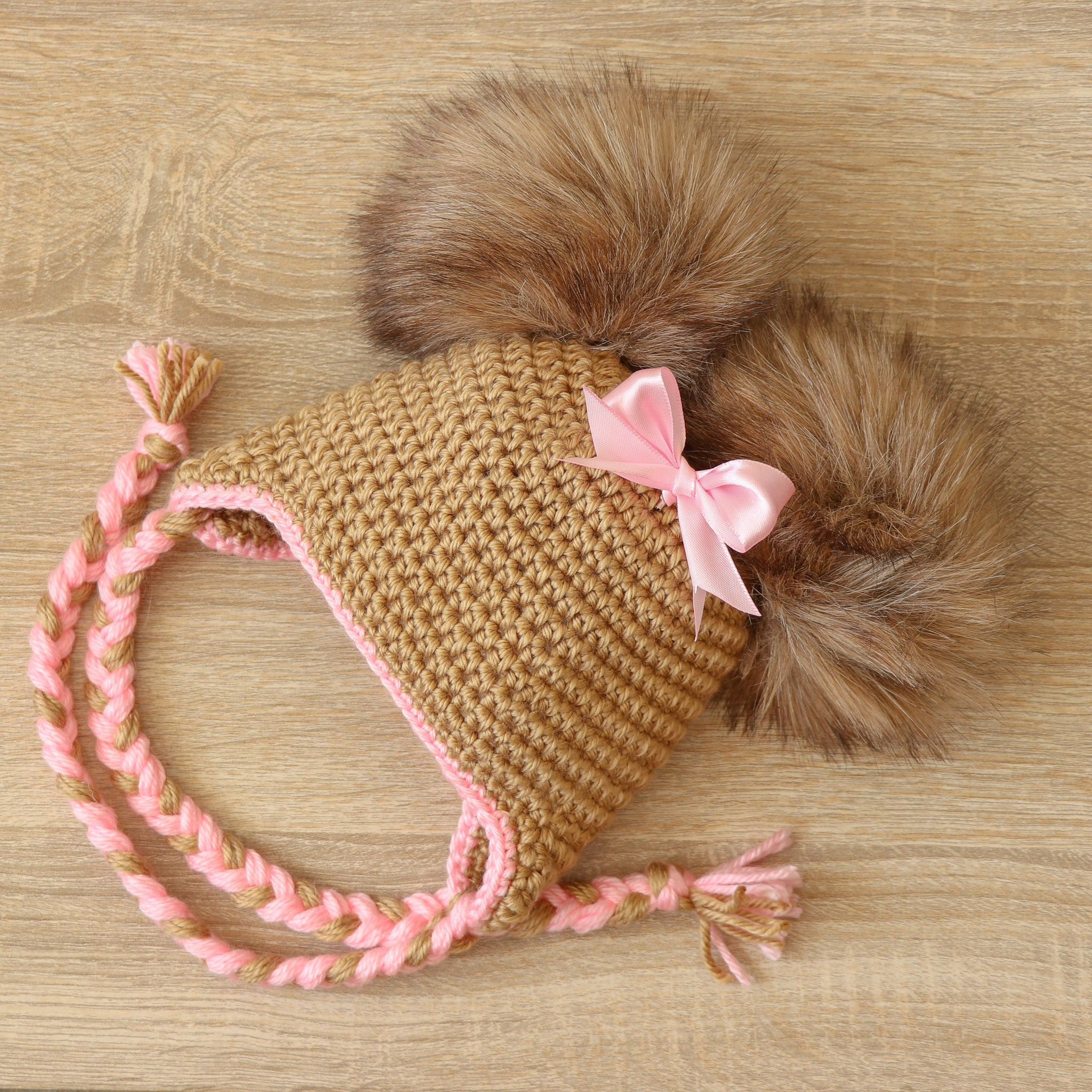 fb56f82b5c8 Double pom hat with bow - Newborn girl hat - Baby girl hat - Earflap ...