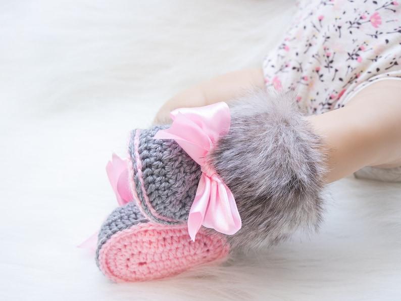 Gray and pink fur booties Newborn girl shoes Preemie girl image 0