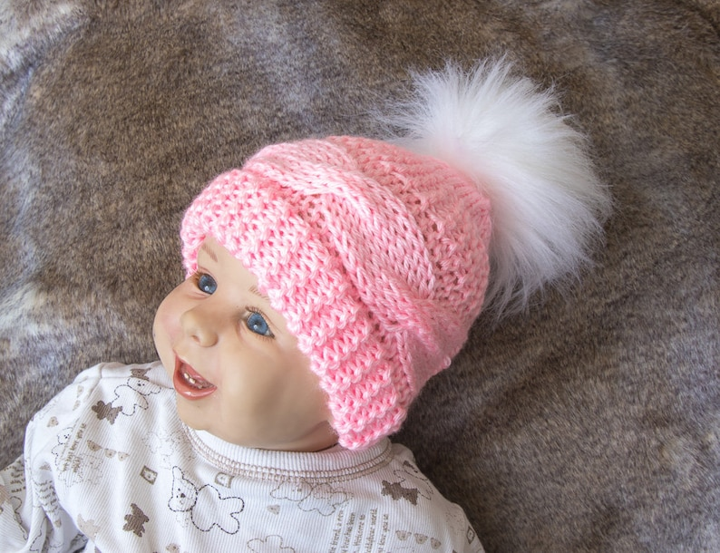 a01fe431522 Cable Knit baby girl hat with faux fur pom pom Pink baby hat