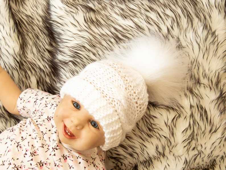 b8a9cfc4b White baby hat - Baby winter hat - Baby hand knitted hat - Cable knit hat-  Fur Pom Pom hat- Baby boy- Baby girl- Gender neutral- Newborn hat