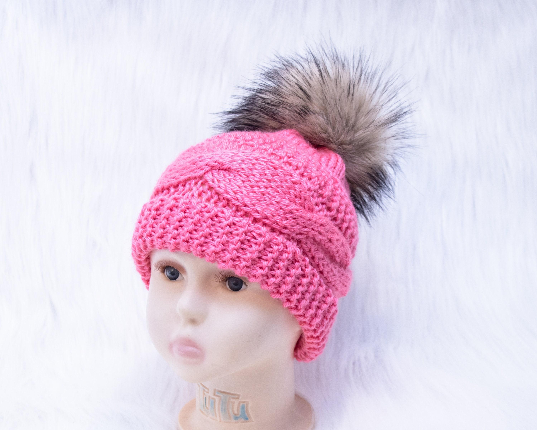 Raspberry Hand Knit Winter Hat