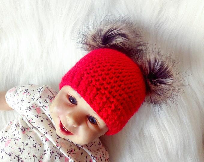 Red Baby girl double pom pom hat, Fur double pom pom beanie, Newborn girl hat, Preemie girl hat, Baby Winter hat, Kids hat, Toddler girl hat