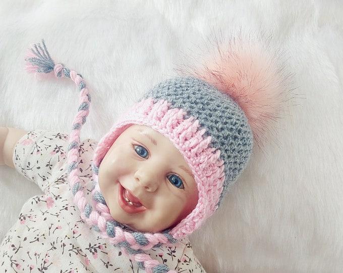 Gray and pink baby girl pom pom hat, Crochet baby girl earflap hat, Newborn girl hat, Preemie girl hat, Baby winter hat, Toddler girl hat